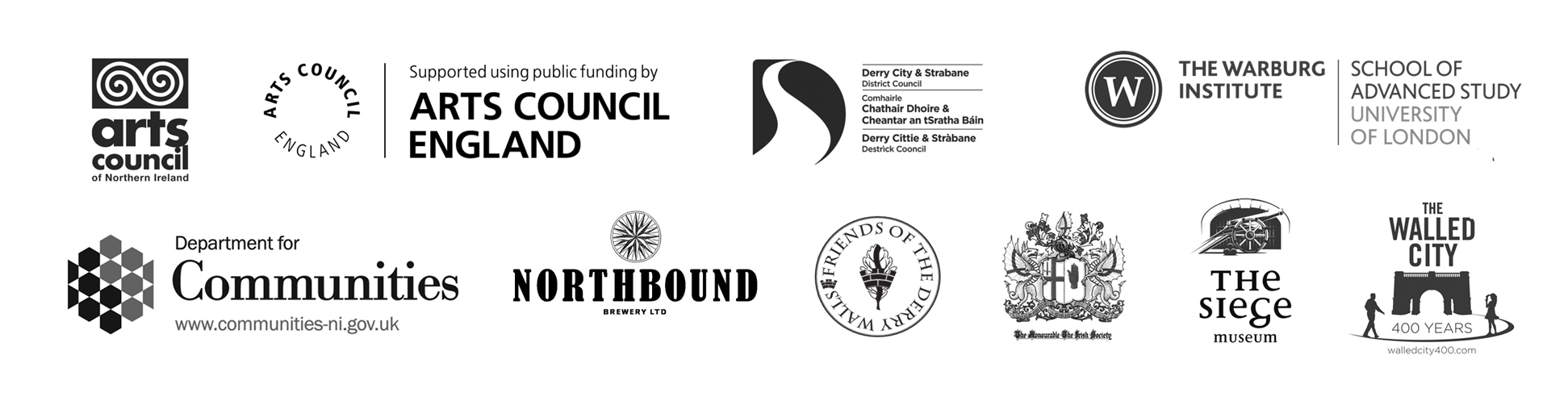 funders' logos for Candida Powell-Williams' exhibition at Void Gallery, 2019, and performance on the Derry Walls