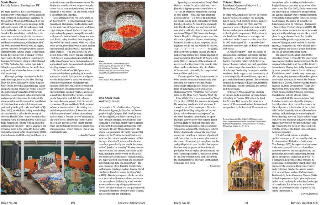 Ima-Abasi Okon review in Frieze Magazine issue 214