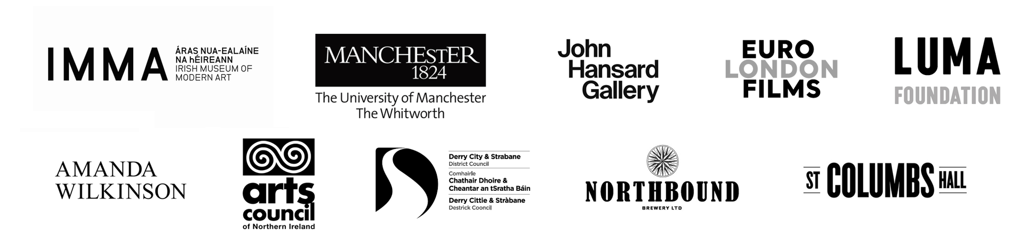 Funders and partners for Derek Jarman's The Last of England exhibition held at Void Gallery, Derry, in 2019/20