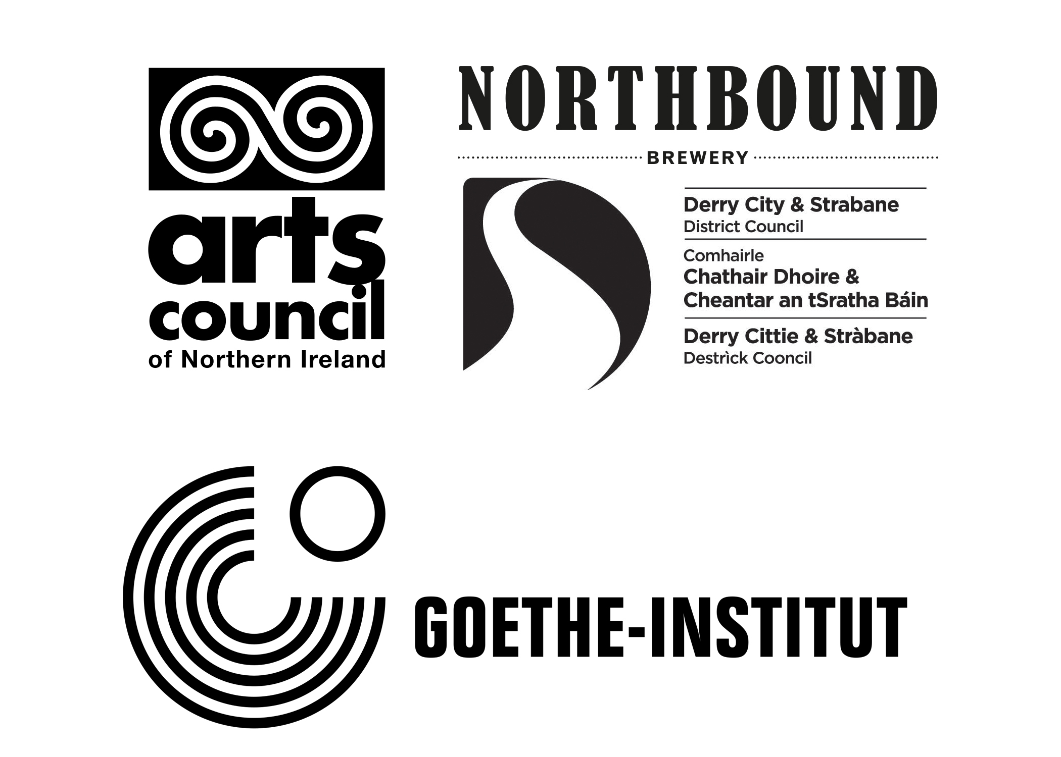 Rosa Barba funder logos for exhibition at Void Gallery, Derry, 2018