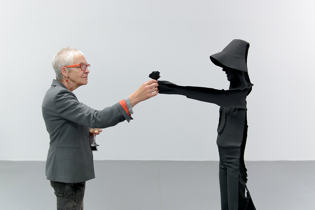 Audience member interacting with sculpture in Brigitte Zieger's Other Scenes exhibition at Void Gallery 2017