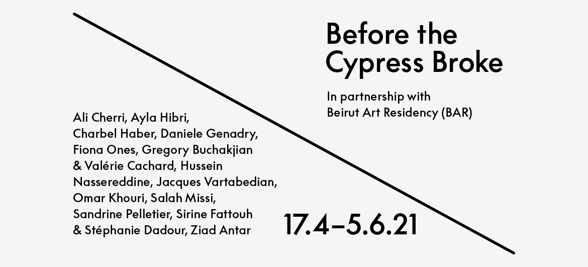 Before the Cypress Broke web graphic featuring artists' names, running dates 17.4-05.06.2021