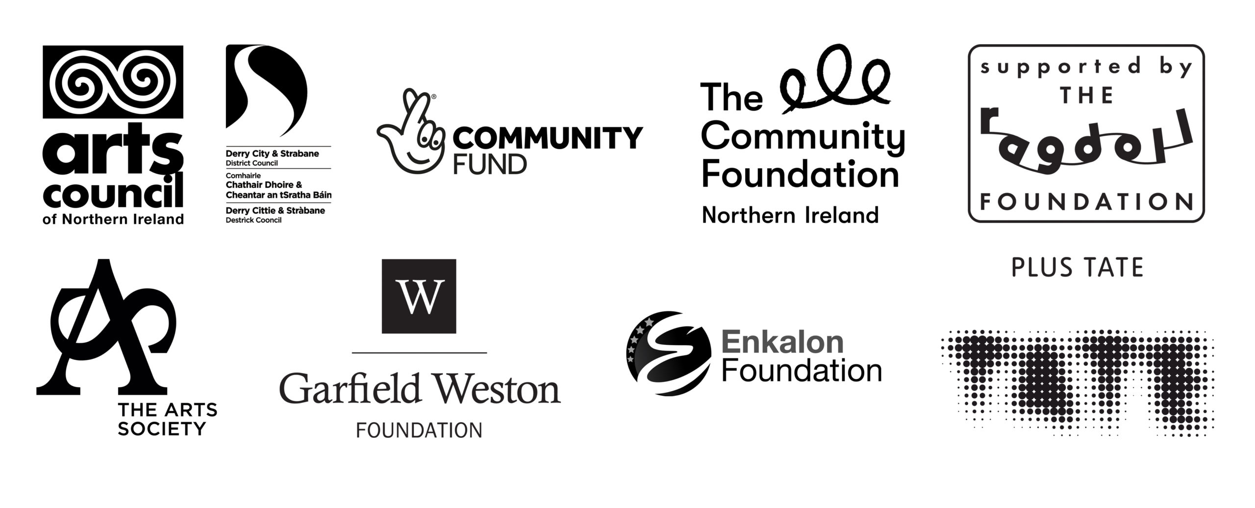 Funders for Void Gallery in 2021: Arts Council of Northern Ireland, Derry City and Strabane District Council, Community Fund, The Community Foundation for Northern Ireland, The Ragdoll Foundation, The Arts Society, Garfield Weston Foundation, Enkalon Foundation, Plus Tate