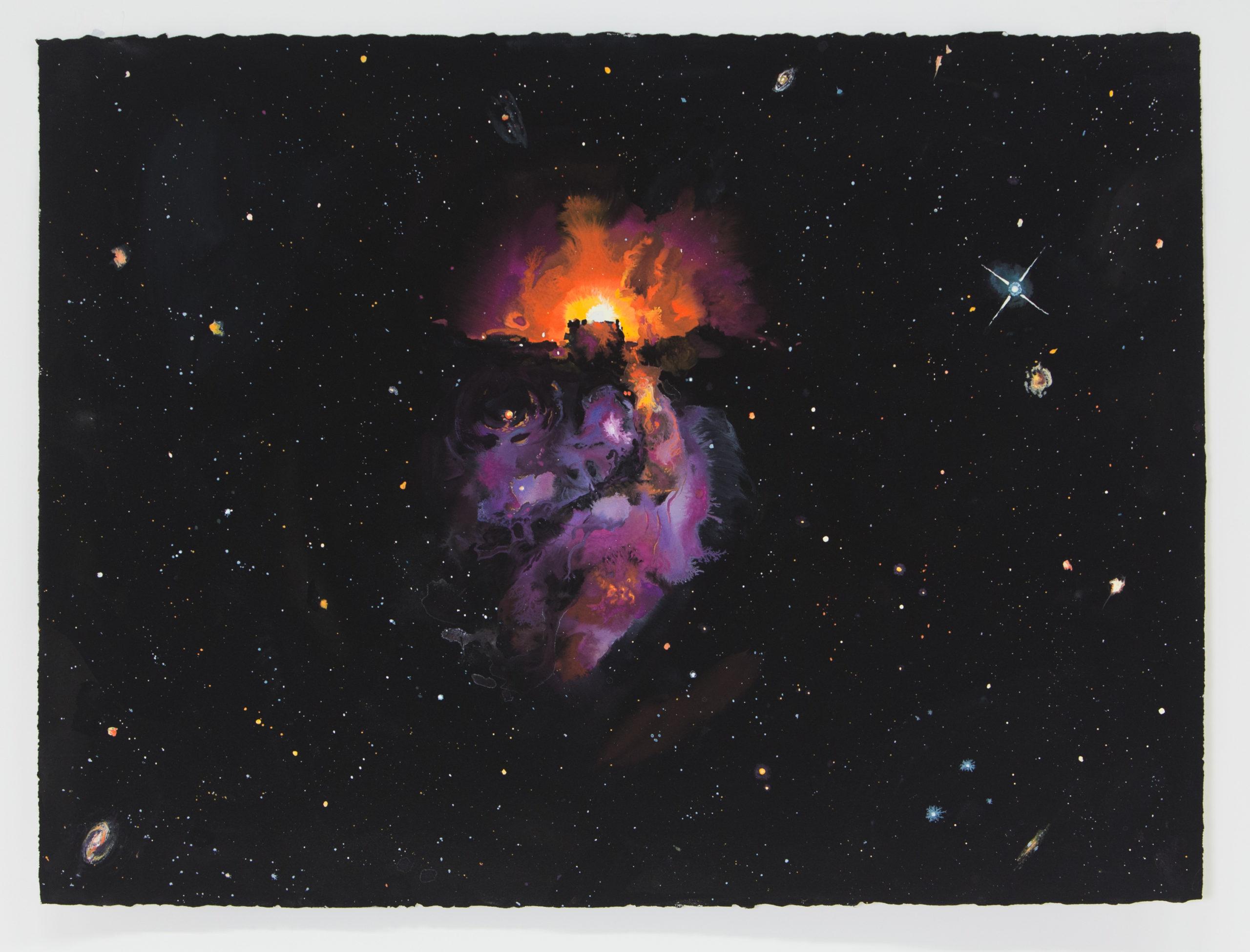 NGC 525, Omar Khouri, 2021. Gouache on Paper, 57.5 cm x 77.5 cm