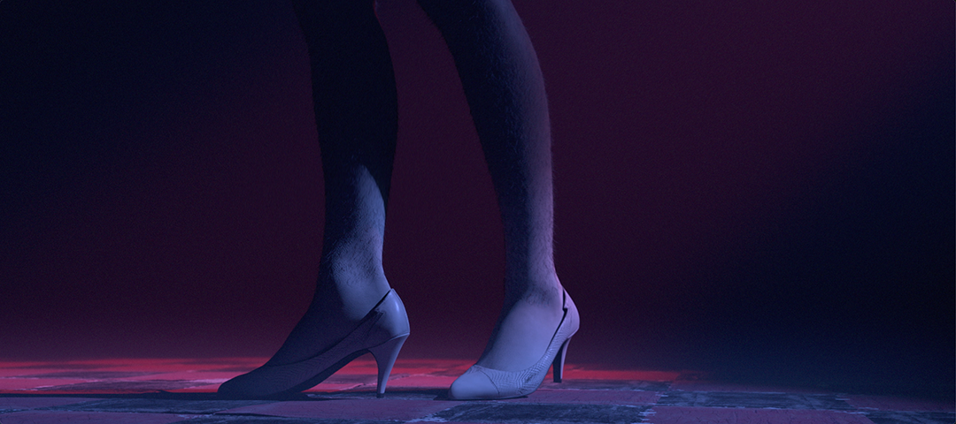 Elizabeth Price 'CHOREOGRAPH' promotional image. Woman's legs standing in heels, pink-blue colours
